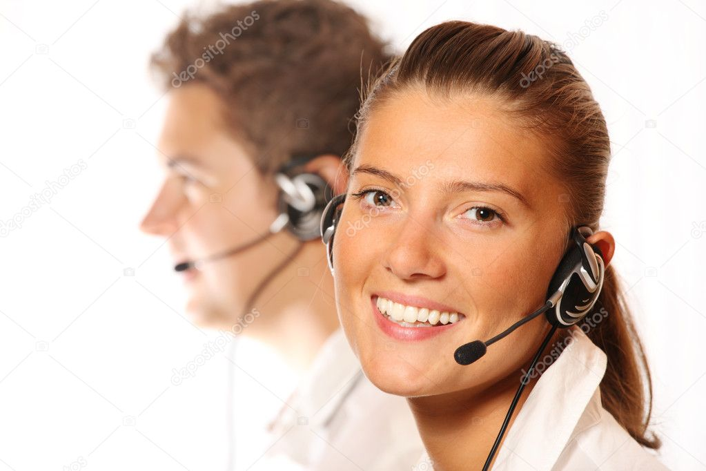 A picture of a team of young call center workers, pretty woman in the foreground — Foto Stock #4017163