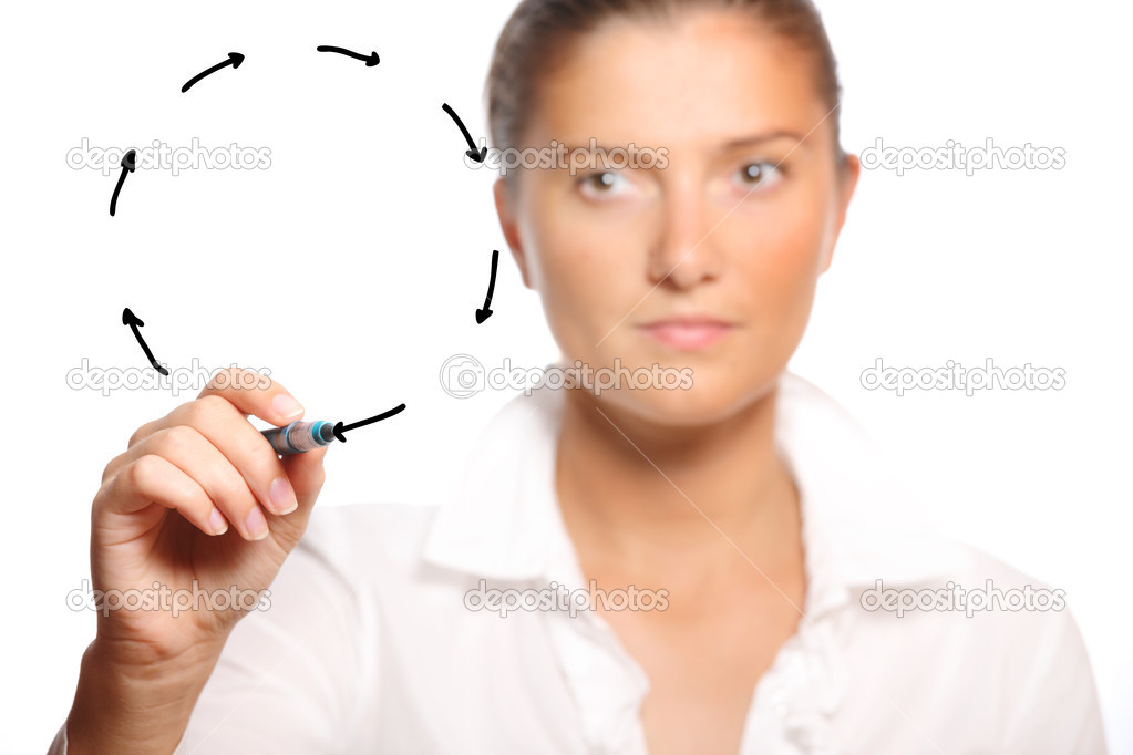 A young businesswoman drawing a circle of arrows over white background a lot of space to put text — Stock Photo #4066375