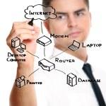 Businessman drawing an internet diagram — Stock Photo