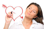 Woman drawing a heart — Stock Photo