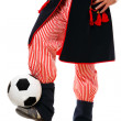 Polish man in a traditional outfit with football — Stock Photo #4255273