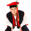 Polish man in a traditional outfit with football — Stock Photo