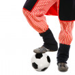 Polish man in a traditional outfit with football — Stock Photo #4255338