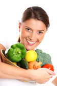 Young woman and vegetables — Stock Photo
