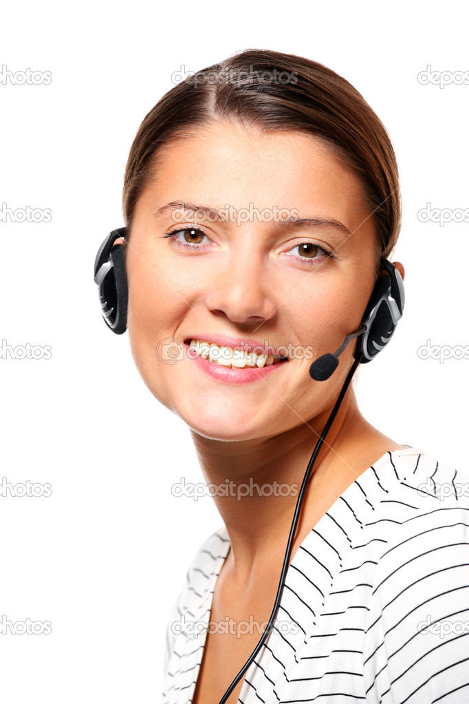 A portrait of a young pretty woman with a headset over white background — Stock Photo #4317852