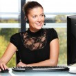 Pretty woman working in the office — Stock Photo #4322870