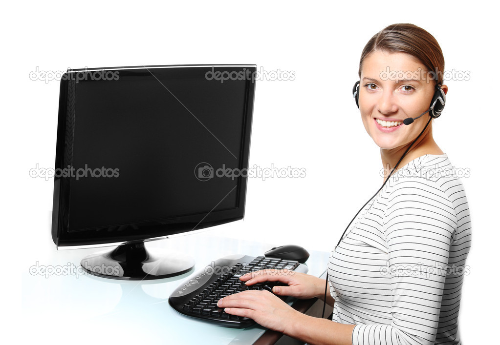 A portrait of a young pretty woman with a headset over white background — Stock Photo #4322842