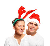 Santa and his reindeer — Stock Photo
