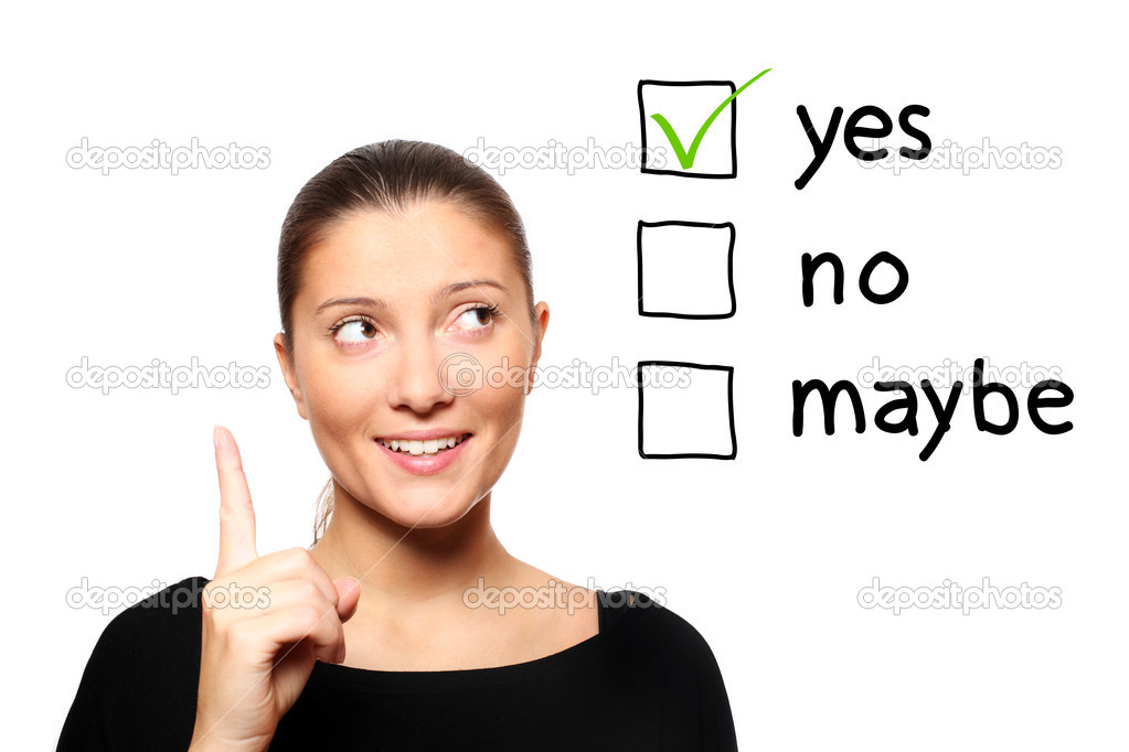 A portrait of a young woman voting for yes over white background — Stock Photo #4449054