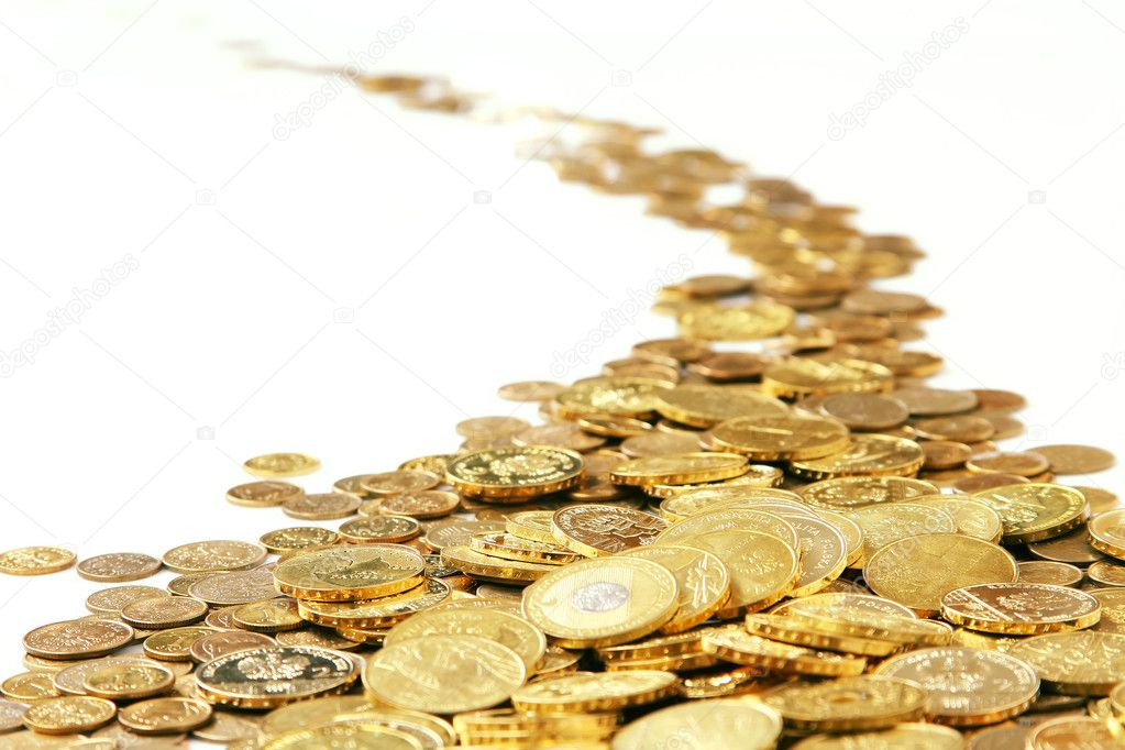Many of gold coins making curved path — Stock Photo #4537837