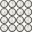Stock Photo: 24 clocks every half hour