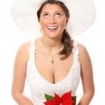 Pretty bride in a hat — Stock Photo