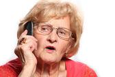 Elderly lady on the phone — Stock Photo