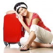 Resting on a suitcase — Stock Photo