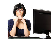Young confident businesswoman in the office — Stock Photo