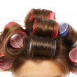 Woman with curlers — Stock Photo #5244271