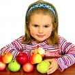 The beautiful child eats beautiful apples — Foto Stock