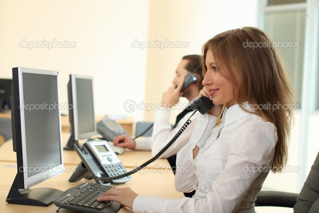 Woman and man makeing calls — Stock Photo #4132057