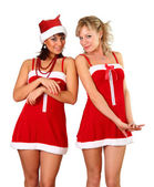 Two beautiful women in christmas dress — Stockfoto