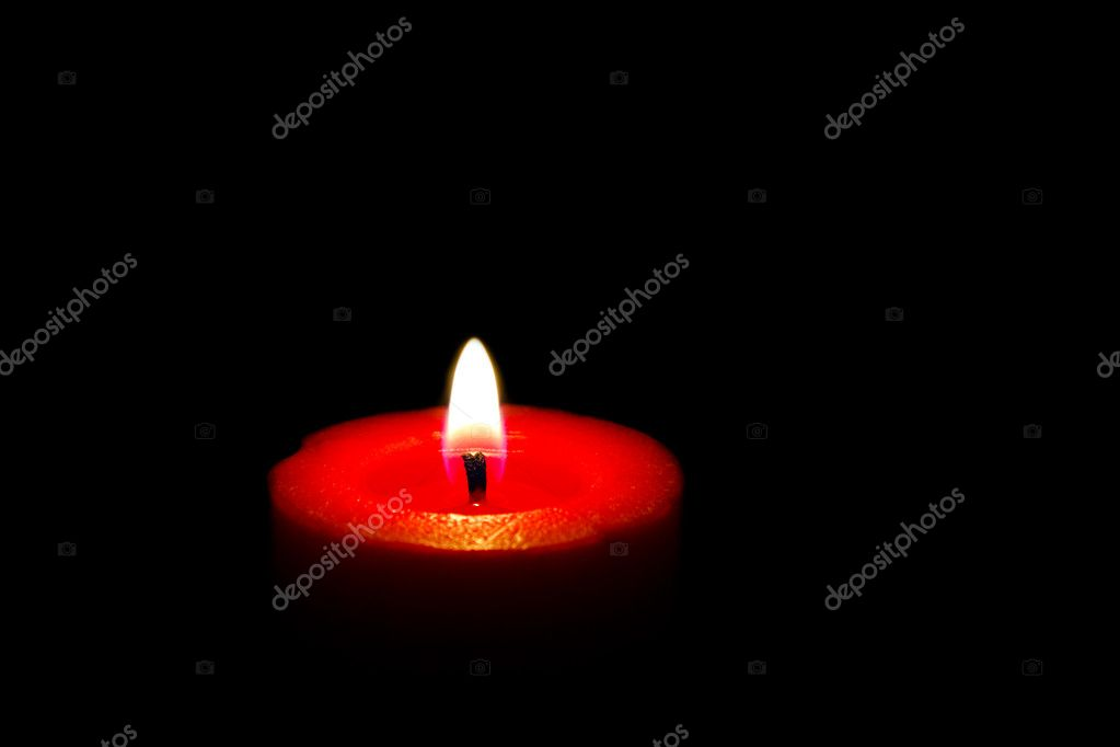 Red wax candle on black background — Stock Photo #4310223