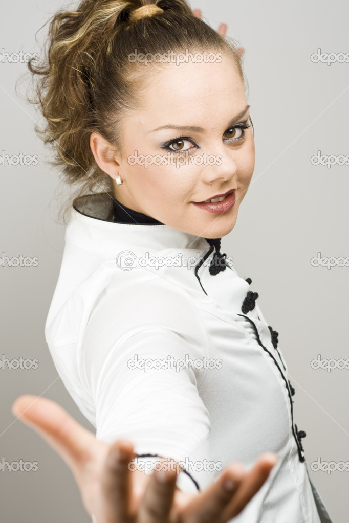 Portrait of a young woman wearing black and white clothes  — Stock Photo #4037468