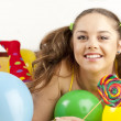 Young woman having fun playing — Stock Photo