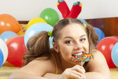 Young woman having fun playing — Stock Photo