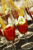 Red cocktail with eggs — Stock Photo