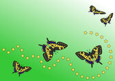 Five butterflies and yellow stars — Stock Photo