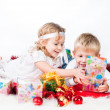 Adorable kids happy new year — Stock Photo