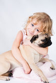 Cute smiling girl with dog — Stock Photo