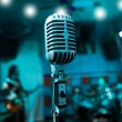 Microphone and musicians — Stock Photo
