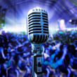 Royalty-Free Stock Photo: Vintage microphone and public