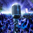 Stock Photo: Vintage microphone and public