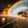 Night urban scene with tunnel — Stock Photo