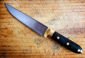 Kitchen knife with cutting board — Foto Stock