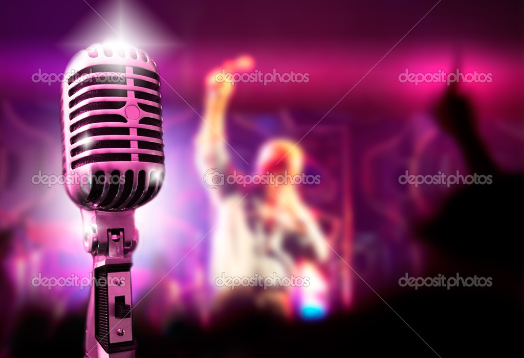 Music background with vintage microphone and concert  Foto de Stock   #4496076