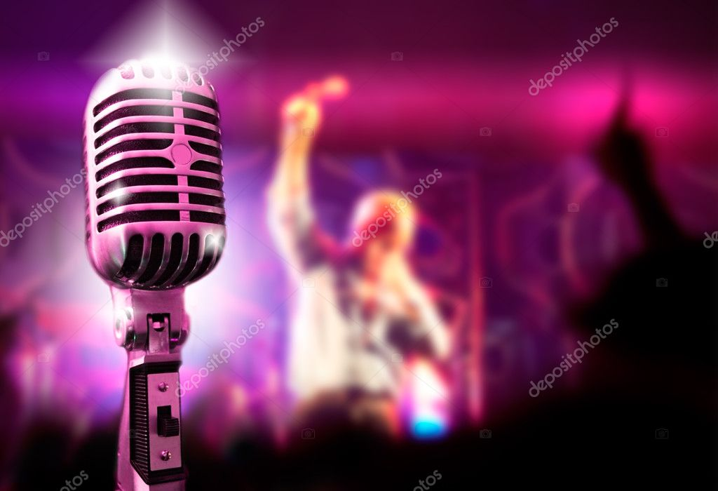 Music background with vintage microphone and concert — Foto Stock #4496076