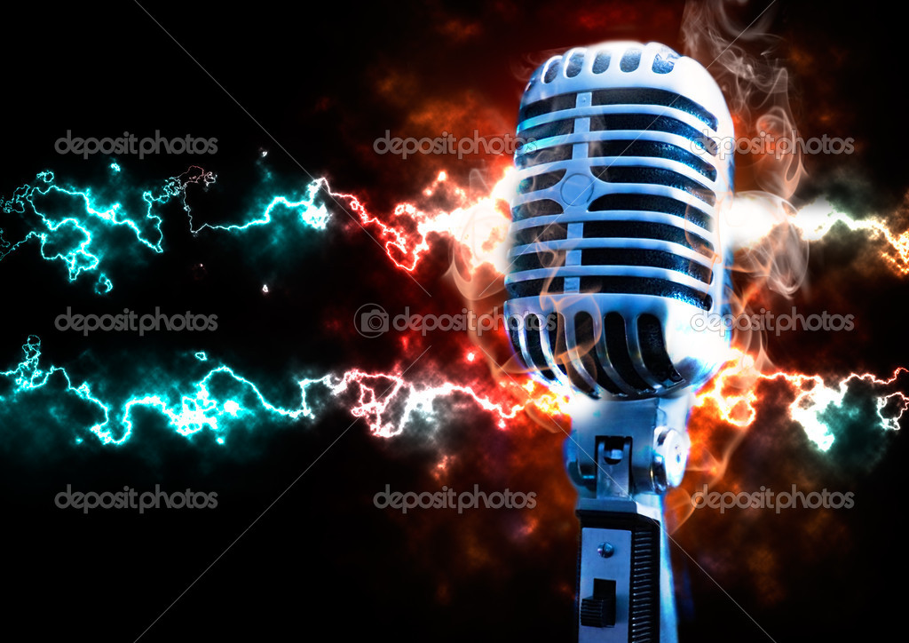 Music illustration with vintage microphone and explosion with fire and ray  Stock Photo #4496103