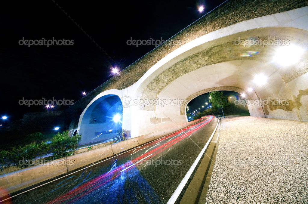Nigth cityscape with road and bridge — Stock Photo #5302812