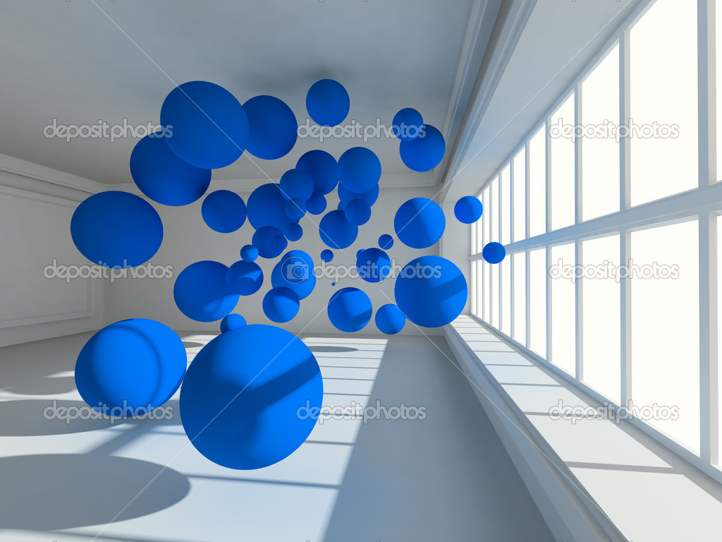 Surreal Empty interior 3d image with floating spheres — Stock Photo #5303438