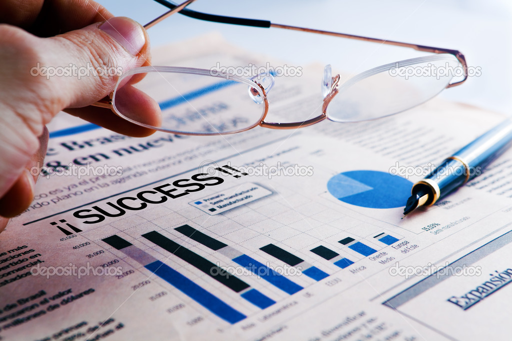 Business success  with statistics and business man — Stock Photo #5303562