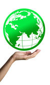 Green Earth on hand — Stock Photo