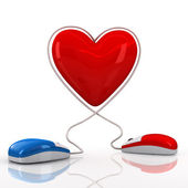 Computer mouses with heart — Stock Photo