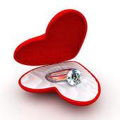 Wedding ring in heart-shaped elegant box — Stock Photo