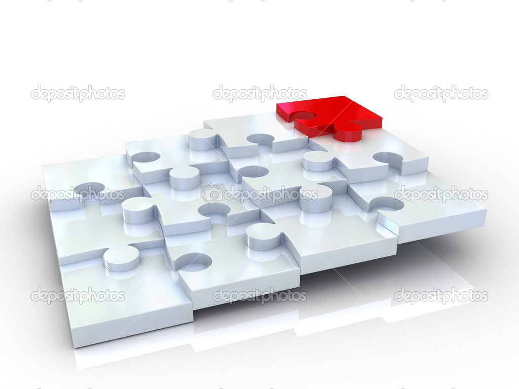 Jigsaw puzzle isolated on white background — Stock Photo #3929560
