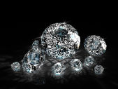 Diamonds on black background — Stock Photo