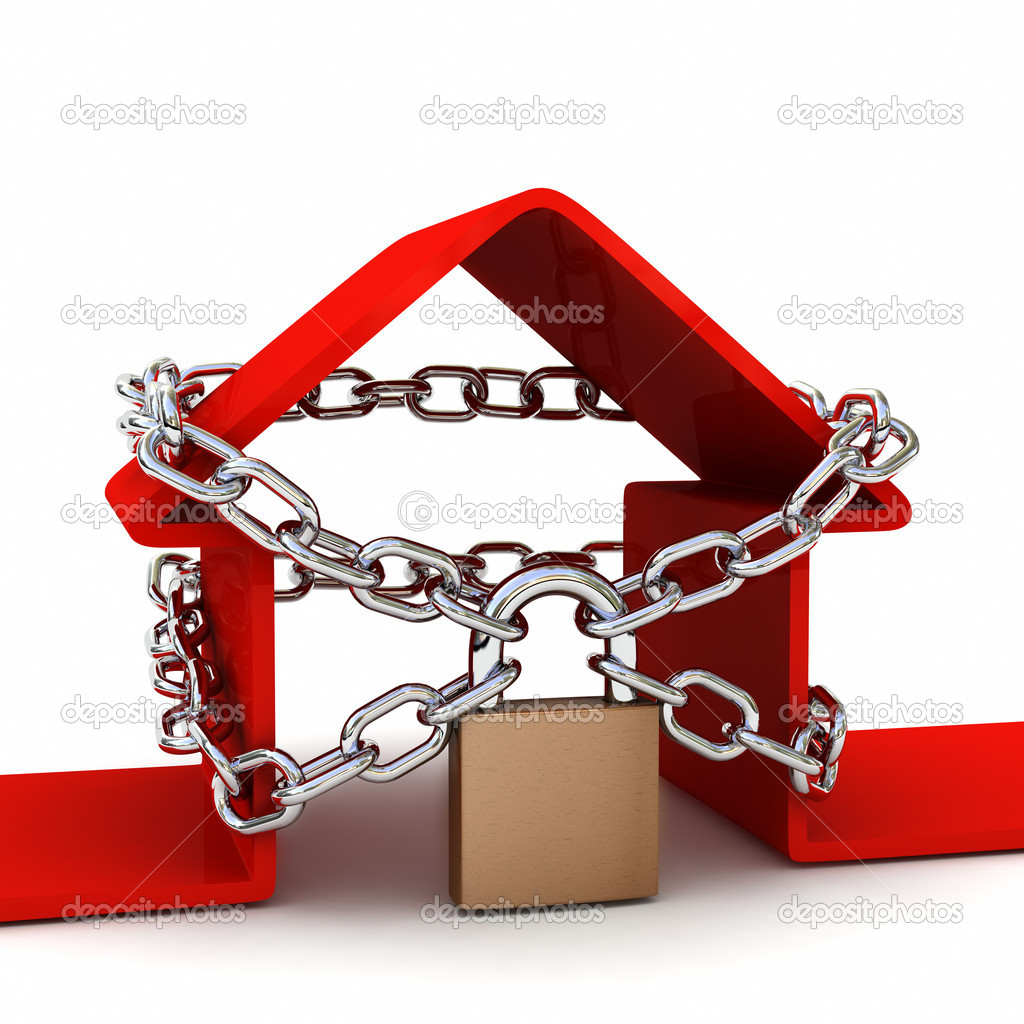 House locked with padlock on white background. Security concept. High quality 3D render.  Stock Photo #5278074