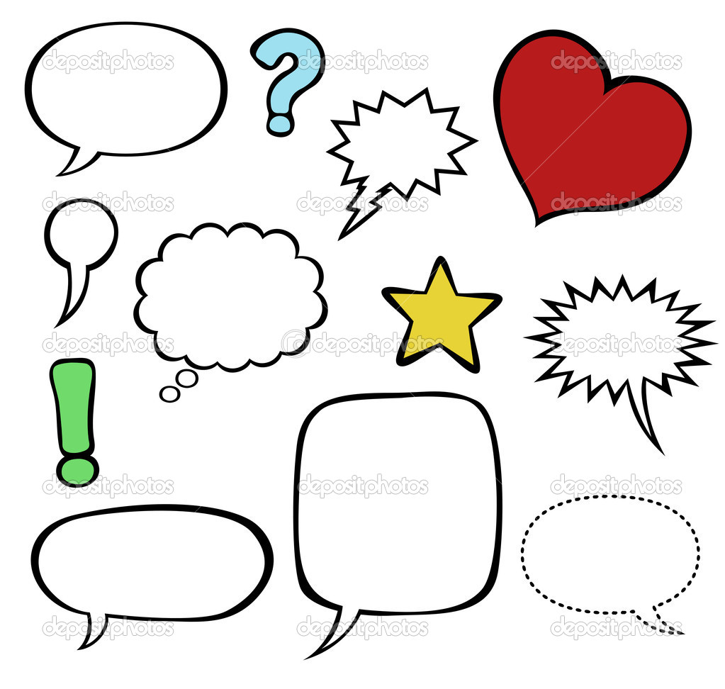 Comics-style vector speech bubbles / balloons isolated on white, with graphic elements and punctuation marks.  Stock Vector #4194539