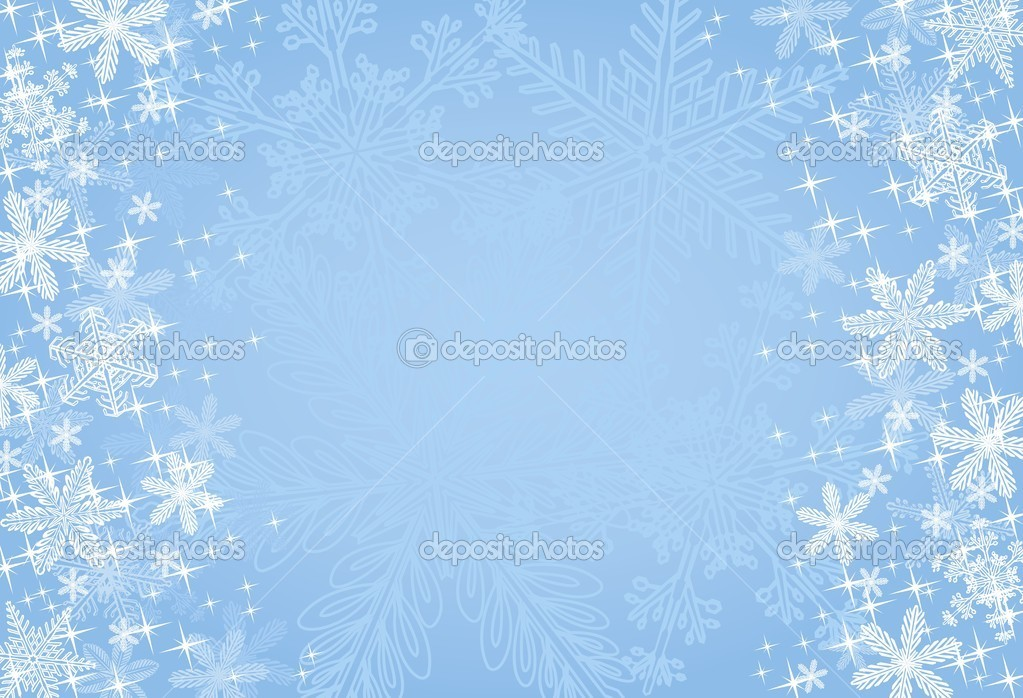 A wintry blue background composed of realistic snowflakes and stars. — Stock Vector #4202065